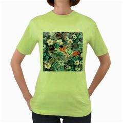 Spring Flowers Blue Womens  T-shirt (Green)