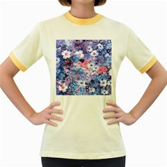 Spring Flowers Blue Womens  Ringer T-shirt (Colored)
