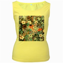 Spring Flowers Blue Womens  Tank Top (Yellow)