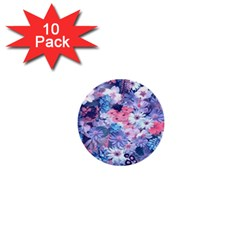 Spring Flowers Blue 1  Mini Button (10 pack)