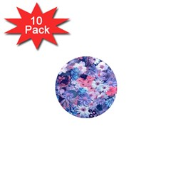 Spring Flowers Blue 1  Mini Button Magnet (10 pack)
