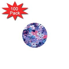 Spring Flowers Blue 1  Mini Button (100 pack)