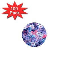 Spring Flowers Blue 1  Mini Button Magnet (100 Pack)