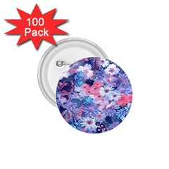Spring Flowers Blue 1.75  Button (100 pack)