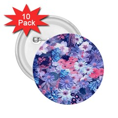 Spring Flowers Blue 2 25  Button (10 Pack)