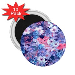 Spring Flowers Blue 2.25  Button Magnet (10 pack)