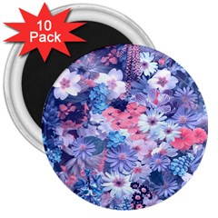 Spring Flowers Blue 3  Button Magnet (10 Pack)