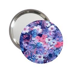 Spring Flowers Blue Handbag Mirror (2.25 )