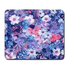 Spring Flowers Blue Large Mouse Pad (Rectangle)