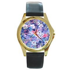 Spring Flowers Blue Round Leather Watch (gold Rim)
