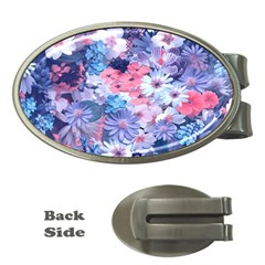 Spring Flowers Blue Money Clip (Oval)