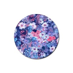 Spring Flowers Blue Drink Coasters 4 Pack (Round)