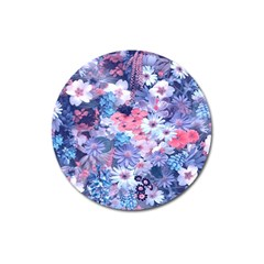Spring Flowers Blue Magnet 3  (Round)