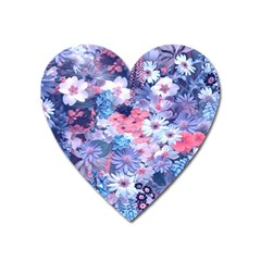 Spring Flowers Blue Magnet (Heart)