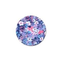 Spring Flowers Blue Golf Ball Marker