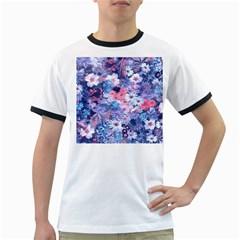 Spring Flowers Blue Mens' Ringer T Shirt
