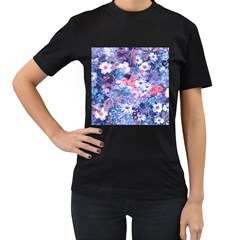 Spring Flowers Blue Womens' Two Sided T-shirt (Black)