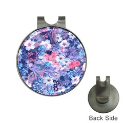 Spring Flowers Blue Hat Clip With Golf Ball Marker