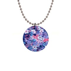 Spring Flowers Blue Button Necklace