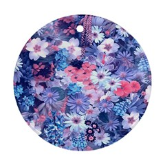 Spring Flowers Blue Round Ornament (two Sides)