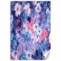 Spring Flowers Blue Canvas 12  x 18  (Unframed)