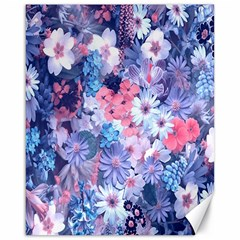 Spring Flowers Blue Canvas 16  X 20  (unframed)