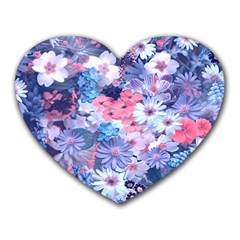 Spring Flowers Blue Mouse Pad (heart)