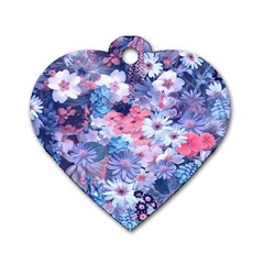 Spring Flowers Blue Dog Tag Heart (Two Sided)