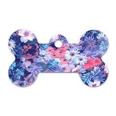 Spring Flowers Blue Dog Tag Bone (One Sided)