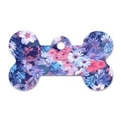 Spring Flowers Blue Dog Tag Bone (Two Sided)