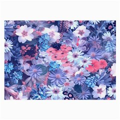 Spring Flowers Blue Glasses Cloth (Large, Two Sided)