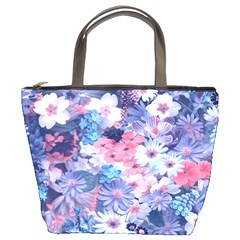 Spring Flowers Blue Bucket Handbag