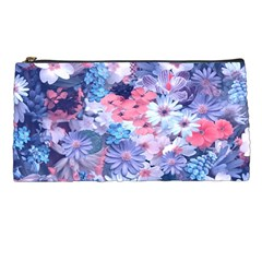 Spring Flowers Blue Pencil Case