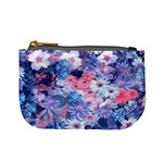 Spring Flowers Blue Coin Change Purse Front