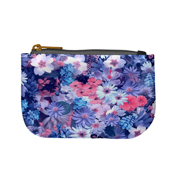 Spring Flowers Blue Coin Change Purse