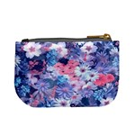 Spring Flowers Blue Coin Change Purse Back