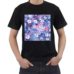 Spring Flowers Blue Mens' T-shirt (Black)