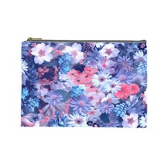 Spring Flowers Blue Cosmetic Bag (Large)