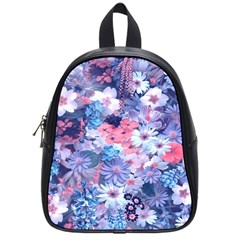 Spring Flowers Blue School Bag (Small)
