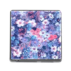 Spring Flowers Blue Memory Card Reader with Storage (Square)