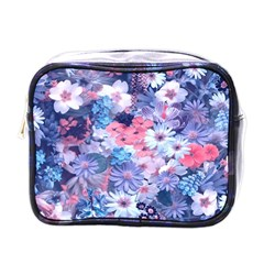 Spring Flowers Blue Mini Travel Toiletry Bag (One Side)