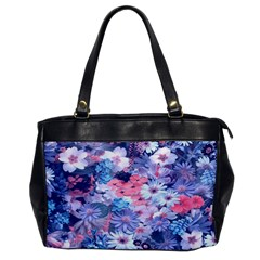 Spring Flowers Blue Oversize Office Handbag (one Side)