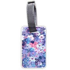 Spring Flowers Blue Luggage Tag (One Side)