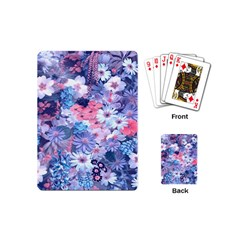 Spring Flowers Blue Playing Cards (Mini)