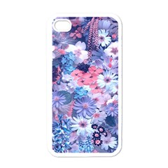 Spring Flowers Blue Apple Iphone 4 Case (white)