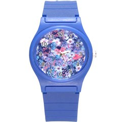 Spring Flowers Blue Plastic Sport Watch (Small)