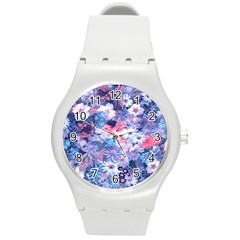 Spring Flowers Blue Plastic Sport Watch (medium)