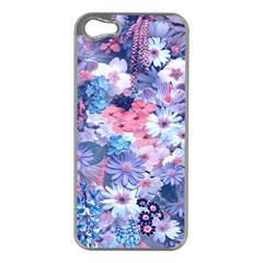 Spring Flowers Blue Apple iPhone 5 Case (Silver)
