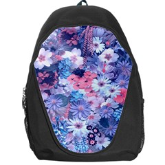 Spring Flowers Blue Backpack Bag
