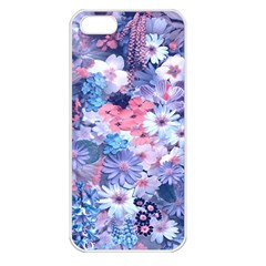 Spring Flowers Blue Apple iPhone 5 Seamless Case (White)
